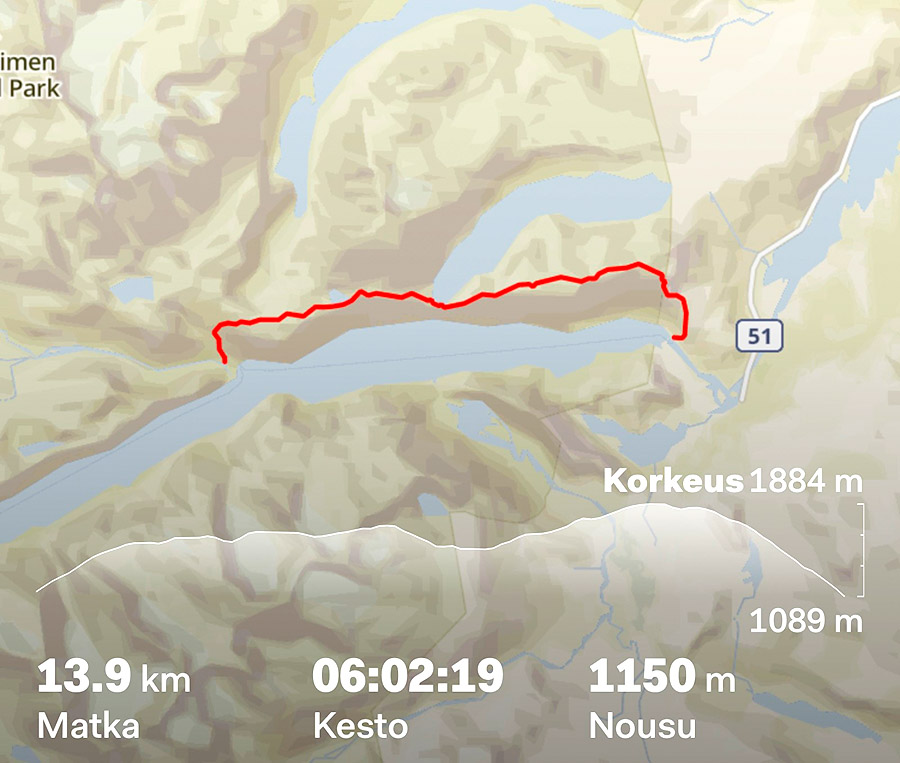 Route from Memurubu to Gjendesheim.