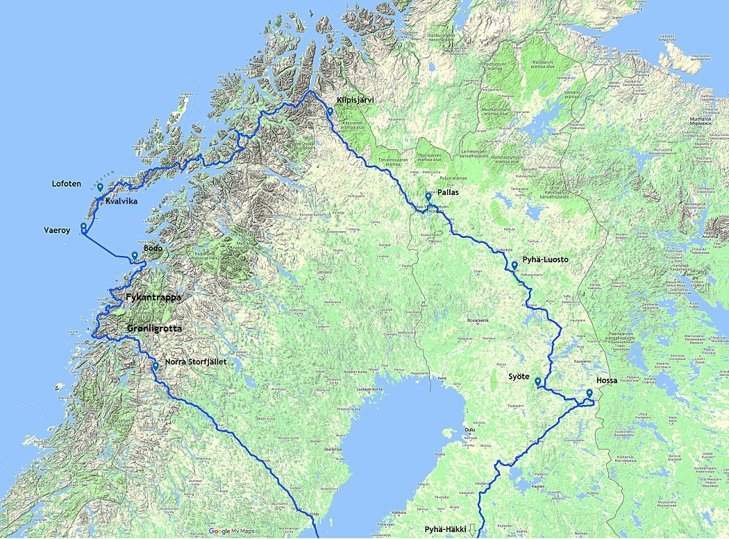 Road trip to Sweden and Norway from Finland route map