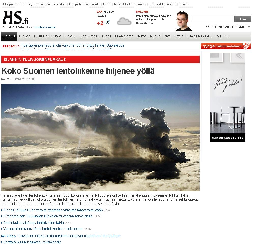 Helsingin Sanomat HS etusivu 2010 Eyjafjallajökull purkaus lentoliikenne pysähtyy Suomessa