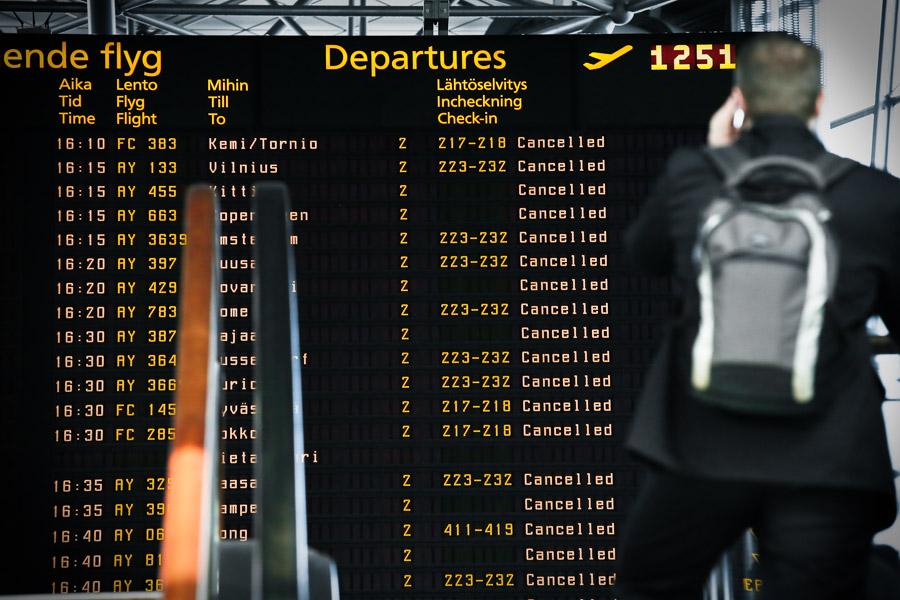 Eyjafjallajökull aviation 2010 Helsinki Vantaa Airport EFHK, cancelled flights