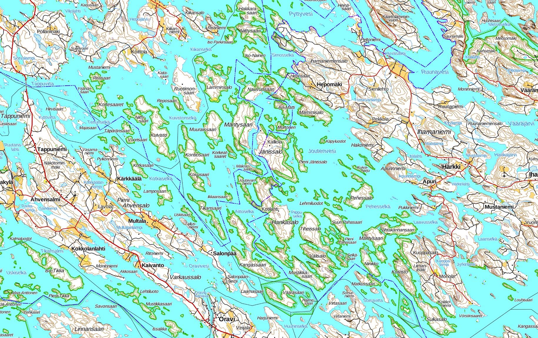 Joutenvesi melonta kartta kayaking map