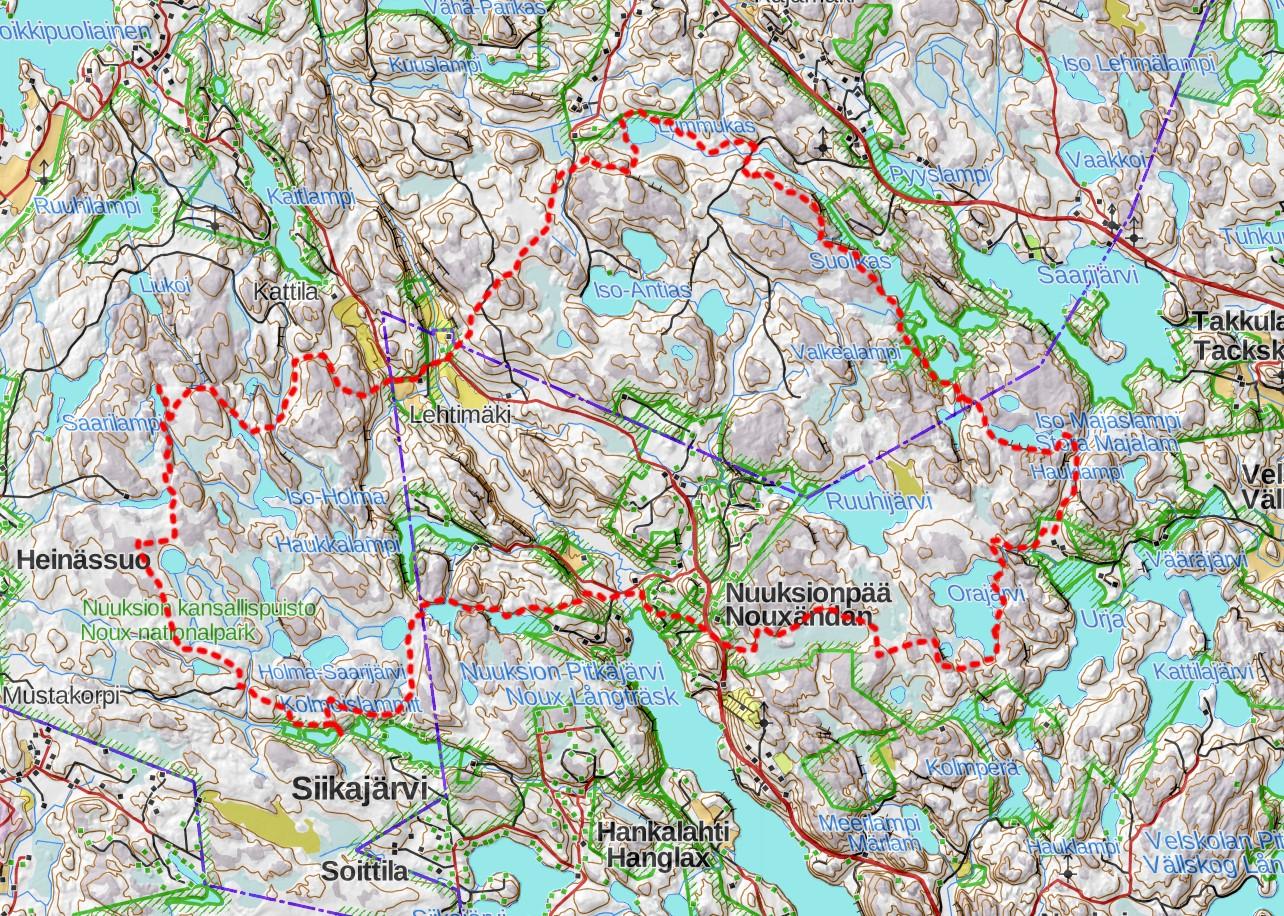 Nuuksio vaellusreitti kartta vaellus hiking map