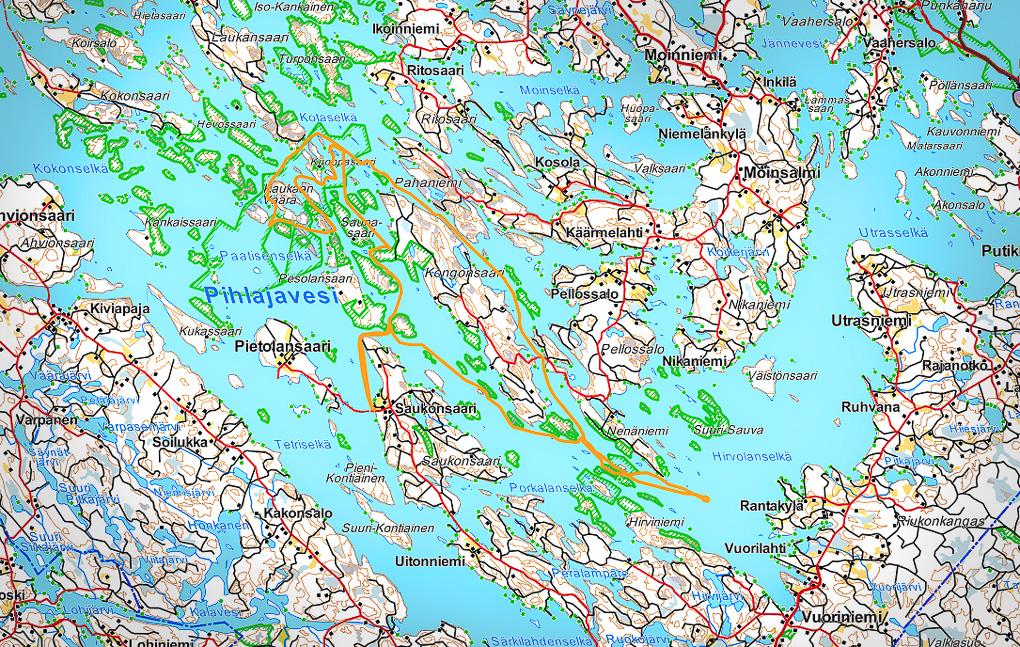 Melonta reitti kartta Pihlajavesi Saimaalla Pihlajavesi kayaking lake saimaa