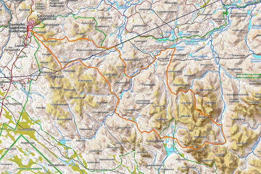 kartta UKK vaellusreitti Urho Kekkosen kansallispuisto
