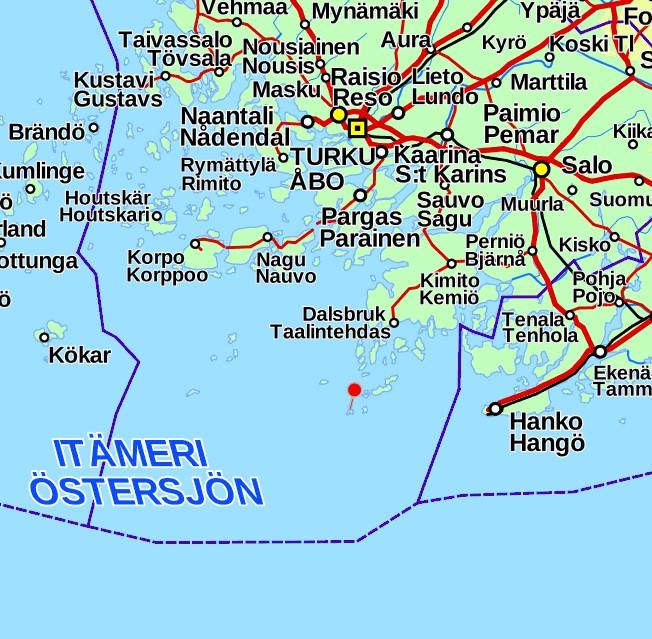 Örö sijainti kartta Saaristomeri