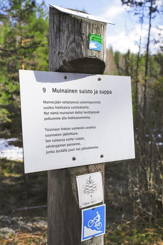 Poronpolku kyltti maastopyöräily Loppi Komion luonnonsuojelualue MTB Finland
