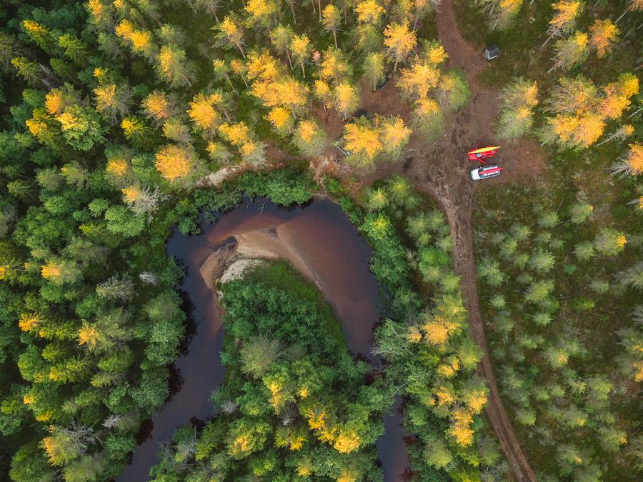 Suomunjoki laavu joki Patvinsuo (Suomu river) ilmakuva drone Patvinsuo National Park