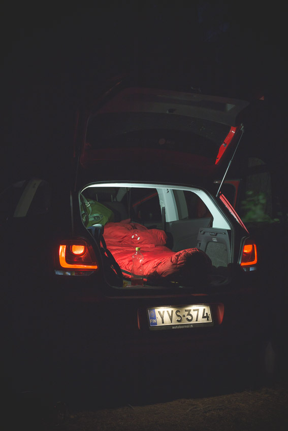 Polo 6R Volkswagen Polo 2010 1.2 sleeping bag in car night photo