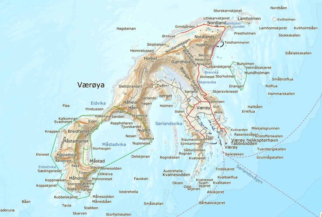 map of Værøya Værøy in norway