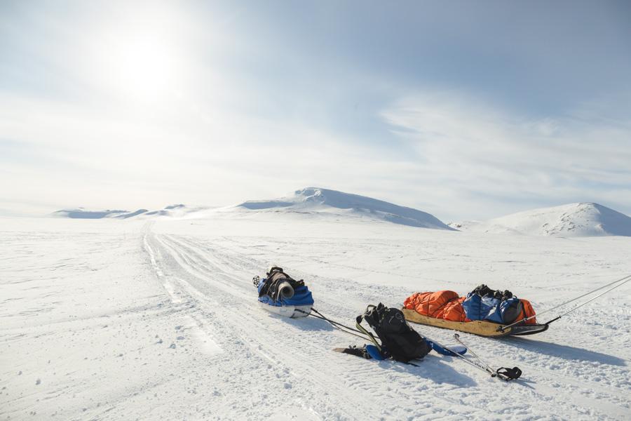 ahkio talvi käsivarsi Kilpisjärvi - Halti hiihtovaellus talvivaellus ski hike reitti moottorikelkkareitti