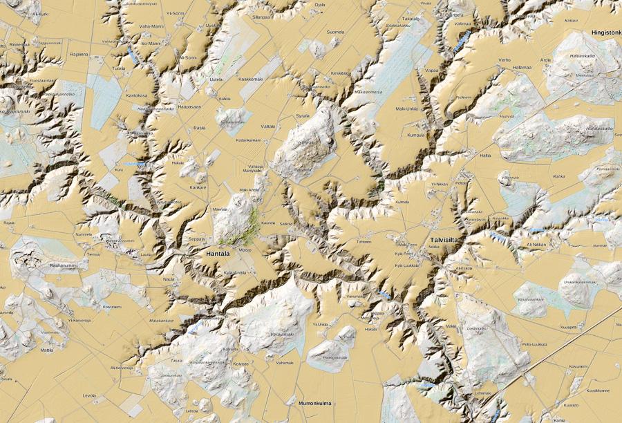 Häntälän notkot kartta Somero luonnonsuojelualue Rekijoki