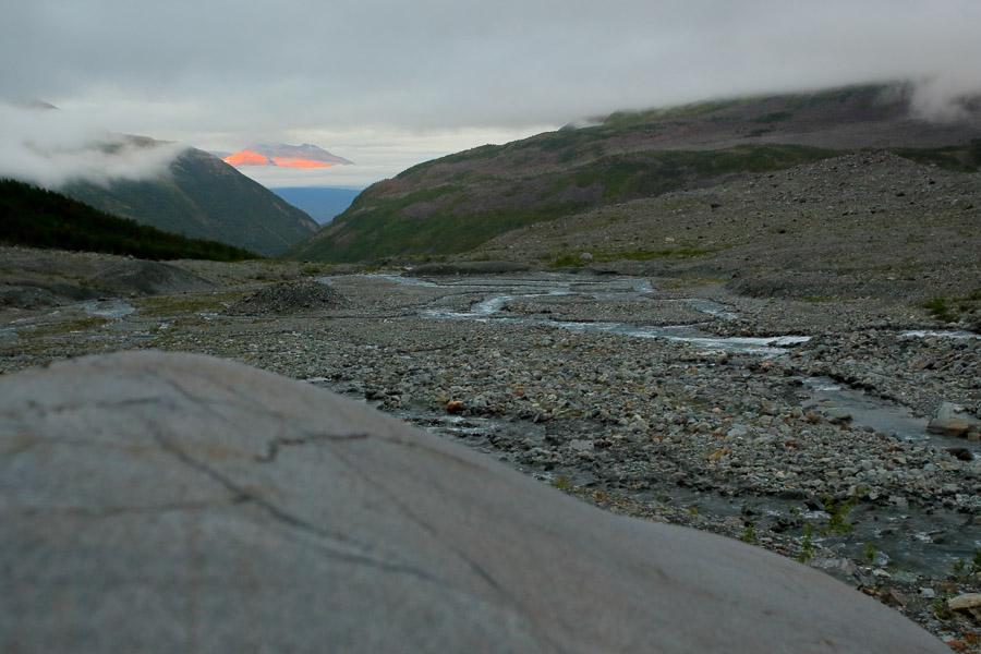 Glacier river Lyngsdalen Lyngen Vestbreen hike