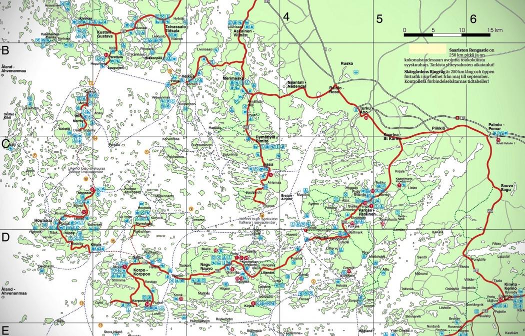 Saariston Rengastie reitti kartta reittikartta