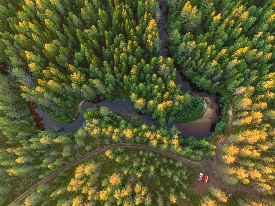 Suomunjoki ilmakuva drone (Suomu river) next to Patvinsuo National Park